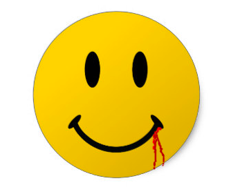 Smiley face with blood